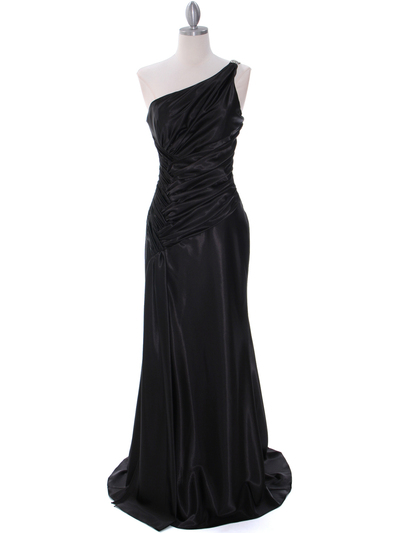 7702 Black Evening Dress with Rhinestone Straps - Black, Front View Medium