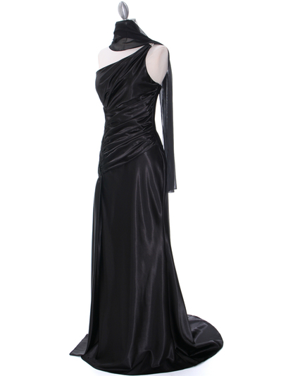 7702 Black Evening Dress with Rhinestone Straps - Black, Alt View Medium