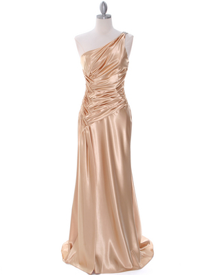 7702 Gold Evening Dress with Rhinestone Straps, Gold