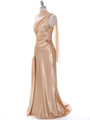 Gold Evening Dress with Rhinestone Straps