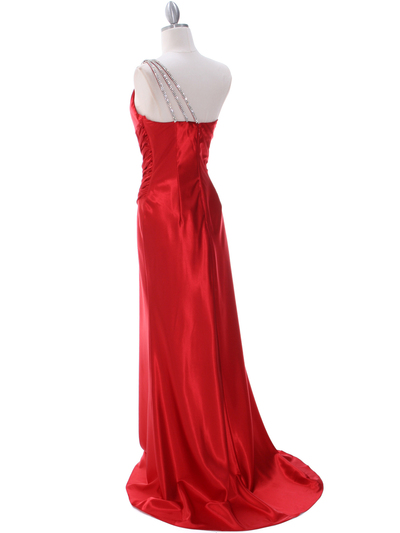 7702 Red Evening Dress with Rhinestone Straps - Red, Back View Medium