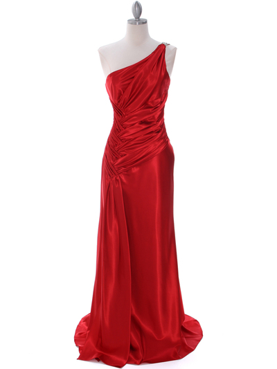 7702 Red Evening Dress with Rhinestone Straps - Red, Front View Medium