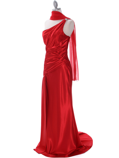 7702 Red Evening Dress with Rhinestone Straps - Red, Alt View Medium