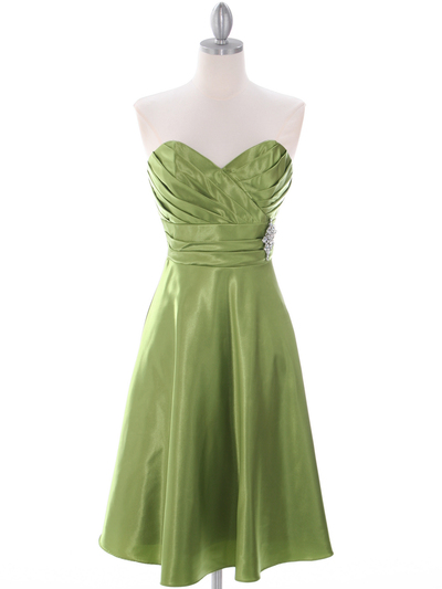 7703 Green Homecoming Dress - Green, Front View Medium