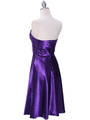 7703 Purple Tea Length Dress - Purple, Back View Thumbnail