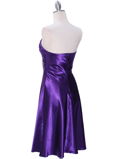7703 Purple Tea Length Dress - Purple, Back View Medium