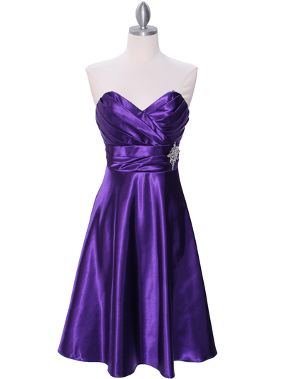 7703 Purple Tea Length Dress - Purple, Front View Medium