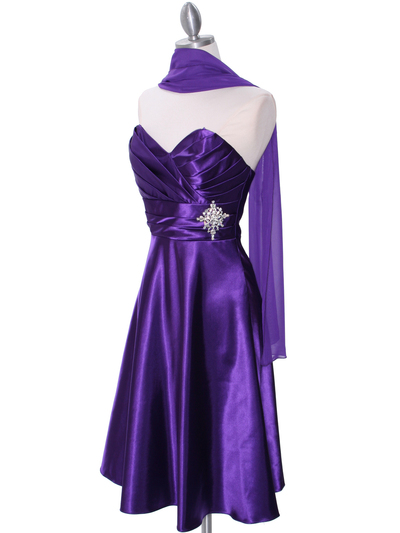7703 Purple Tea Length Dress - Purple, Alt View Medium