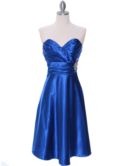 7703 Royal Blue Cocktail Dress - Royal Blue, Front View Medium