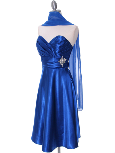7703 Royal Blue Cocktail Dress - Royal Blue, Alt View Medium