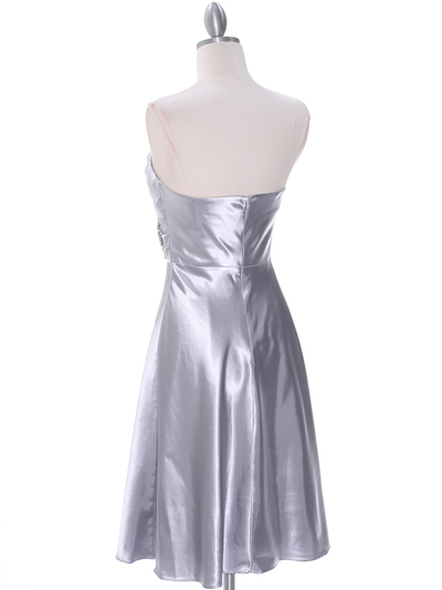 7703 Silver Bridesmaid Dress - Silver, Back View Medium