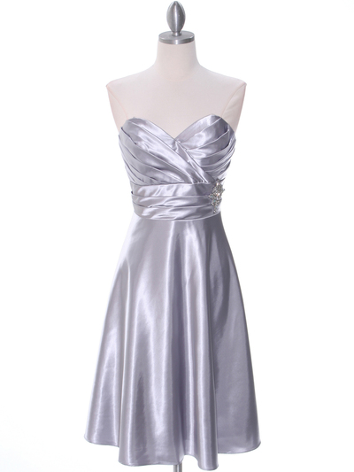 7703 Silver Bridesmaid Dress - Silver, Front View Medium