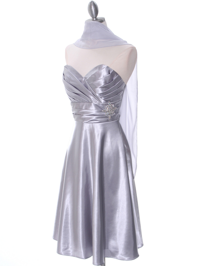 7703 Silver Bridesmaid Dress - Silver, Alt View Medium
