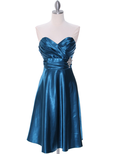 7703 Teal Bridesmaid Dress - Teal, Front View Medium