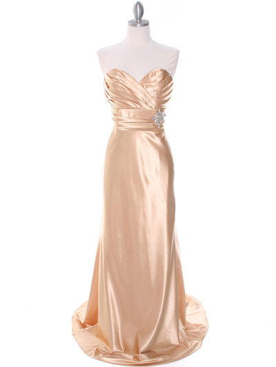 7704 Gold Evening Dress - Gold, Front View Medium
