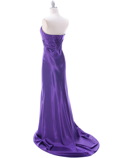 7704 Purple Evening Dress - Purple, Back View Medium