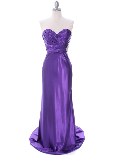 7704 Purple Evening Dress - Purple, Front View Medium