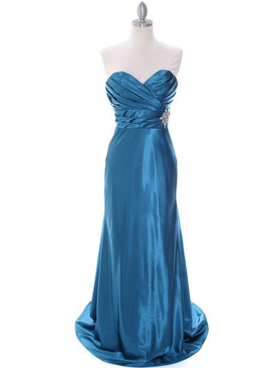 7704 Teal Bridesmaid Dress - Teal, Front View Medium