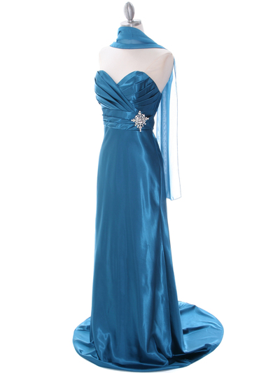7704 Teal Bridesmaid Dress - Teal, Alt View Medium