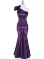 7710  Eggplant Evening Dress - Front Image