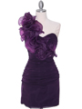 7712 Eggplant Cocktail Dress - Eggplant, Front View Thumbnail