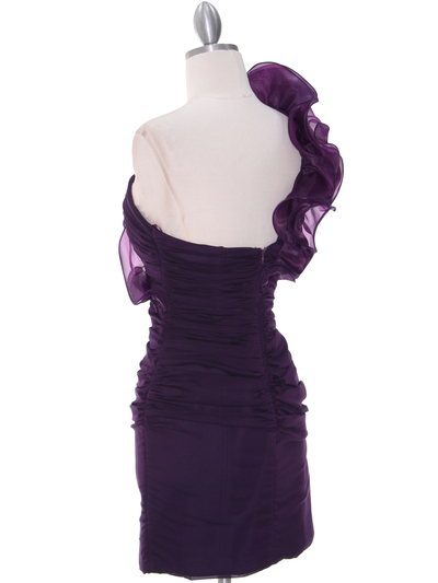 7712 Eggplant Cocktail Dress - Eggplant, Back View Medium