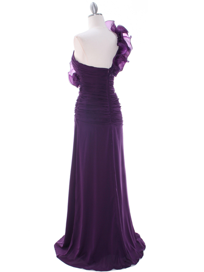 7713 Eggplant Evening Dress - Eggplant, Back View Medium