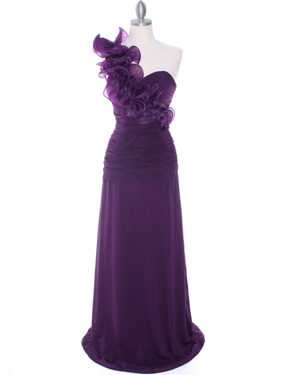 7713 Eggplant Evening Dress - Eggplant, Front View Medium