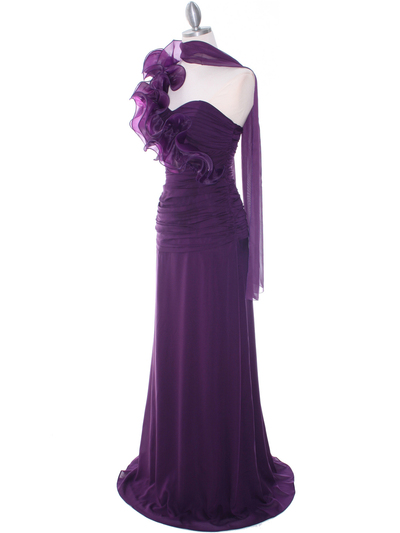 7713 Eggplant Evening Dress - Eggplant, Alt View Medium