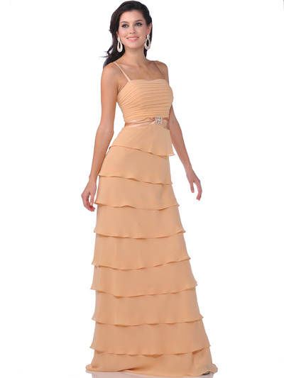 7731 Chiffon Tiered Evening Dress with Bolero - Gold, Front View Medium