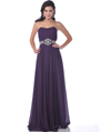 7733 Strapless Chiffon Evening Dress - Eggplant, Front View Thumbnail