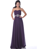 7733 Strapless Chiffon Evening Dress, Eggplant