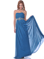7733 Strapless Chiffon Evening Dress - Teal, Front View Thumbnail