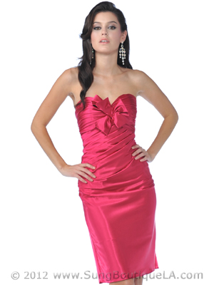 Strapless Charmeuse Pencil Dress - Front Image