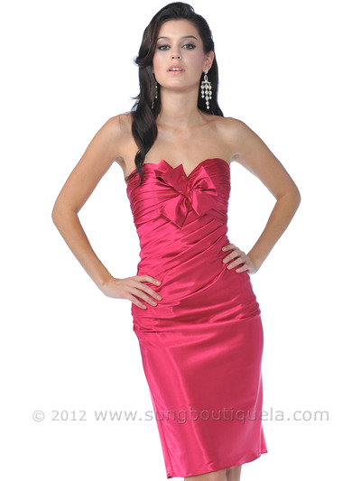 7734 Strapless Charmeuse Pencil Dress - Fuschia, Front View Medium