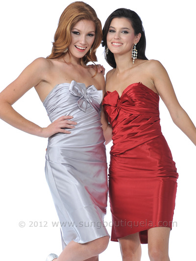 7734 Strapless Charmeuse Pencil Dress - Silver, Front View Medium