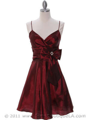 7742 Raspberry Tafetta Homecoming Dress, Raspberry