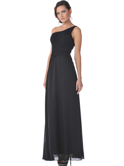 7744 One Shoulder Chiffon Evening Dress - Black, Front View Medium
