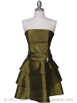 7747 Olive Tiered Cocktail Dress, Olive