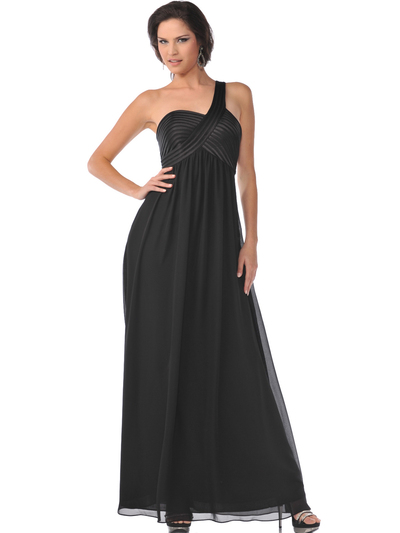 7748 One Shoulder Empire Waist Evening Dress - Black, Front View Medium