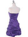 7749 Purple Bubble Hem Cocktail Dress - Purple, Back View Thumbnail