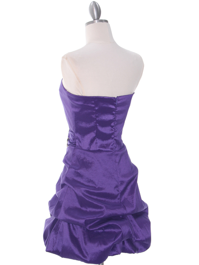 7749 Purple Bubble Hem Cocktail Dress - Purple, Back View Medium
