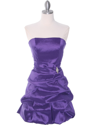 7749 Purple Bubble Hem Cocktail Dress - Purple, Front View Medium