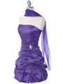 7749 Purple Bubble Hem Cocktail Dress - Purple, Alt View Thumbnail