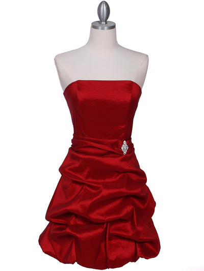 7749 Red Tafetta Bubble Cocktail Dress - Red, Front View Medium