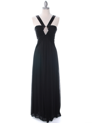 7771 Black Evening Dress, Black