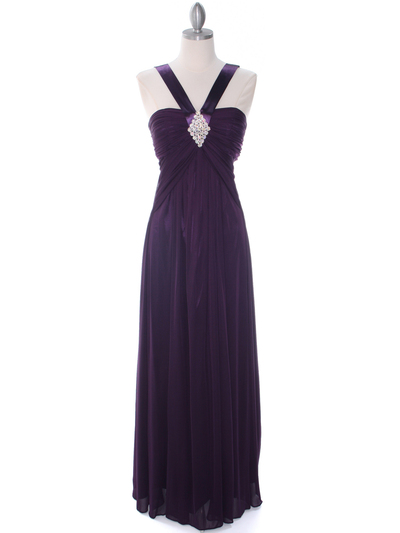 7771 Purple Evening Dress - Purple, Front View Medium