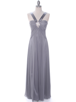 Silver Evening Dress - Front Image