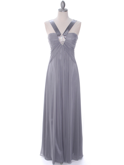 7771 Silver Evening Dress - Silver, Front View Medium