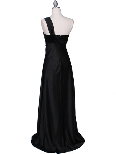 7810 Black One Shoulder Evening Dress - Black, Back View Medium